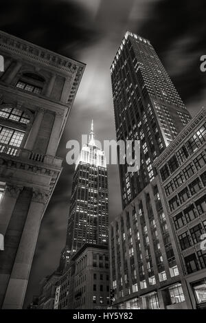 Empire State Building at night from 5th Avenue in Black & White. Manhattan, New York City - Stock Photo