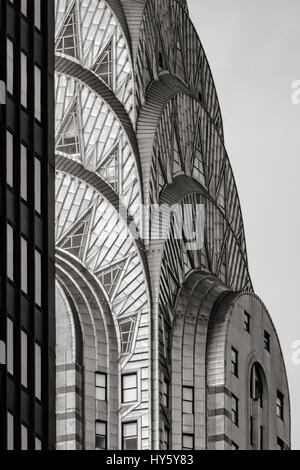 Top of the Chrysler Building (Art Deco style)  in Black & White. New York City - Stock Photo