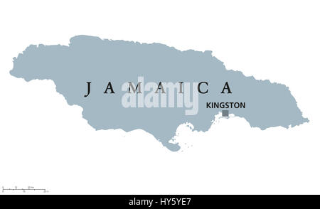 Jamaica political map with capital Kingston. Country in the Caribbean Sea and third-largest island of the Greater - Stock Photo