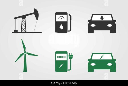 Green energy vs Fossil energy concept. Oil rig, gas station, car, wind turbine, electrical charging station, electric - Stock Photo