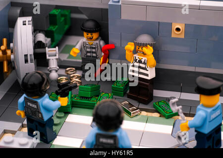 Tambov, Russian Federation - January 08, 2017 Lego bank burglary. Two robbers arrested by three policemans after - Stock Photo