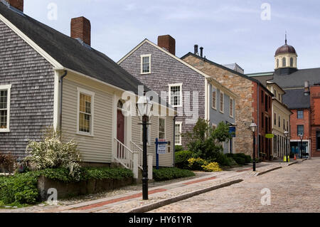 A street scene in the Old Whaling District of New Bedfore, Massachusetts, USA - Stock Photo