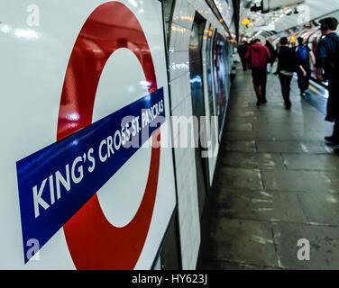 King's Cross St Pancras Tube Sign - Stock Photo