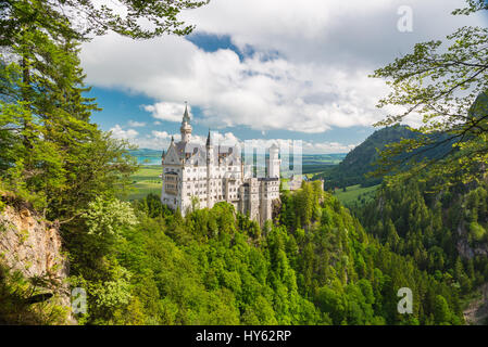 Picturesque nature landscape with Neuschwanstein Castle. Bavaria, Germany - Stock Photo