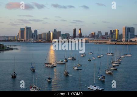 View of downtown San Diego from the Coronado bridge, California - Stock Photo