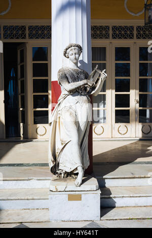 Statue of a Greek mythical muse in Achilleion palace, Corfu Island, Greece, built by Empress of Austria Elisabeth - Stock Photo