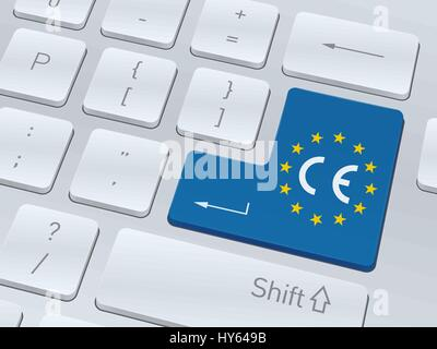 CE mark concept design on button of white computer keyboard for your corporate projects. Vector illustration background. - Stock Photo