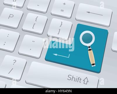 Searching concept design on button of white computer keyboard for your corporate projects. Vector illustration background. - Stock Photo