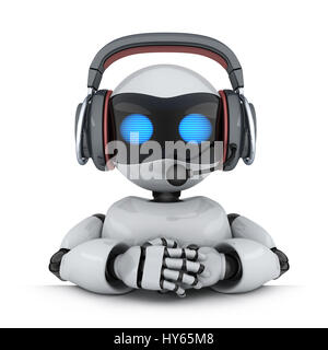 Technical support. Robot in headphone. 3d illustration - Stock Photo