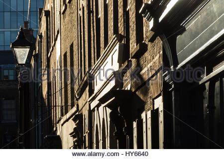 Fournier Street is an 'east-end' street of 18th-century houses in Spitalfields, in the London Borough of Tower Hamlets. - Stock Photo