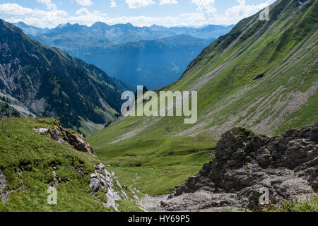 Karst landscape, Steinernes Meer and Rote Wand, Lechquellen Mountains, Vorarlberg, Austria - Stock Photo
