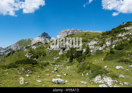 Karst landscape, Steinernes Meer and Rote Wand, Lechquellen Mountains, Vorarlberg, Austria - Stock Photo