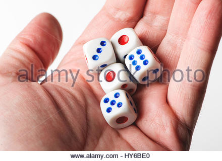 Dice on a hand. Isolated. - Stock Photo