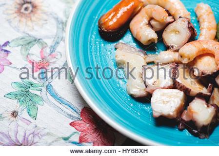 Tasty seafood salad. Horizontal shoot. - Stock Photo