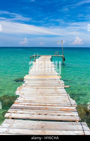 Wooden pier on the beach of Koh Kood island, Thailand - Stock Photo