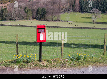 A Royal Mail EiiR modern red post box in rural Cumbria, St John's in the Vale, Cumbria, England, UK - Stock Photo