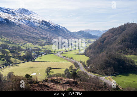 View looking south from High Rigg towards a snow capped Helvellyn, Cumbria, England, UK - Stock Photo