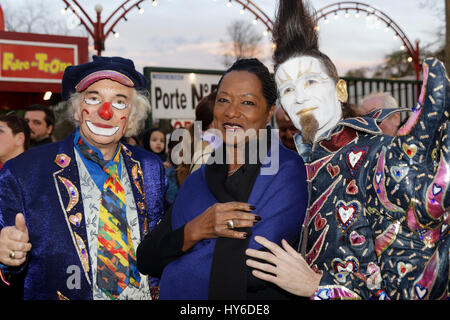 Michel Lebeau, Babette de Rosieres, Christall attend at Opening evening of the 2017 Throne Fair for the benefit - Stock Photo