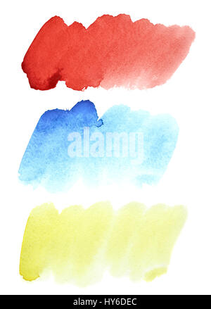 Set of colorful watercolor brush strokes isolated on the white background - Stock Photo