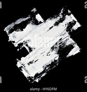 White paint expressive brush strokes on black background - Stock Photo