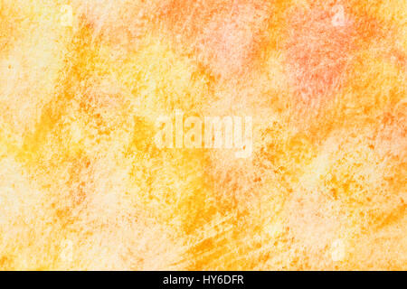 Yellow - orange abstract hand-drawn watercolor background with paper texture - Stock Photo