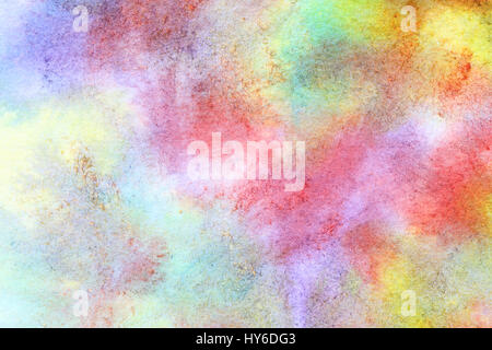 Abstract hand-drawn colorful watercolor background with paper texture - Stock Photo
