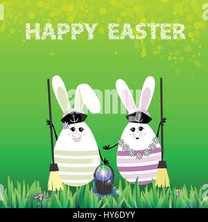 Easter. Rabbits-eggs in the grass on a green background in the hands of two brooms for cleaning and a bucket of - Stock Photo