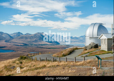 Mount John Observatory and Mackenzie country viewed from Mount John. This is New Zealands premier astronomical observatory. - Stock Photo