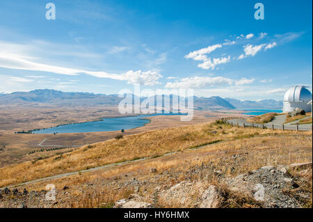 Mackenzie country viewed from Mount John. This is New Zealands premier astronomical observatory. - Stock Photo