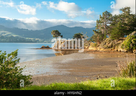 Sunset at Otago Harbour east of Dunedin, New Zealand - Stock Photo