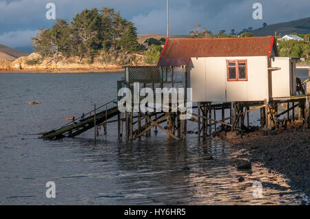 Boat houses at Otago Peninsula and Otago Harbour during sunset east of Dunedin, New Zealand - Stock Photo