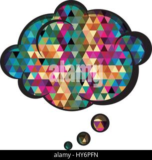 colorful cloud speech with abstract background - Stock Photo