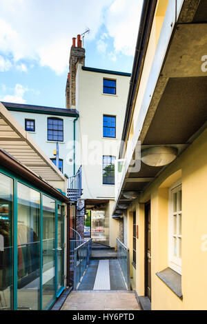 Houses and small businesses in Highgate Village alley, London, UK - Stock Photo