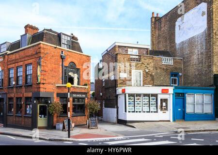 The historic Angel Inn in Highgate Village, London, UK - Stock Photo
