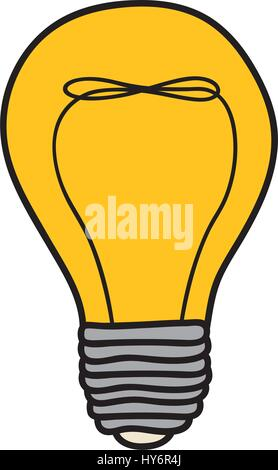 color background of light bulb with filament in shape of helix - Stock Photo