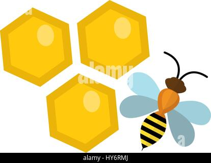 Honeycomb and bee icon, flat style. Isolated on white background. Vector illustration, clip-art. - Stock Photo