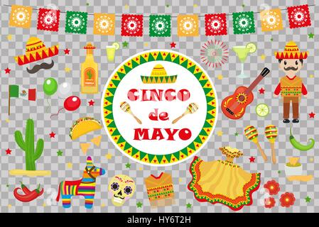 Cinco de Mayo celebration in Mexico, icons set, design element, flat style.Collection objects for Cinco de Mayo - Stock Photo