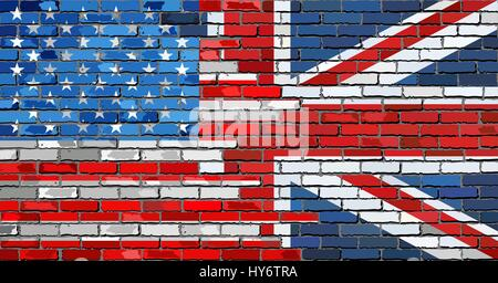 Brick Wall USA and UK flags - Illustration,  Mixed Flags of the USA and the UK,  English and American flag - Stock Photo