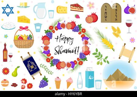 Shavuot icons set, flat style. Collection design elements on the Jewish holiday Shavuot with milk, fruit, torus, - Stock Photo