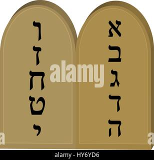 Tablets Jewish from 10 commandments icon, flat, cartoon style. Jewish religious holiday Shavuot, concept. Isolated - Stock Photo