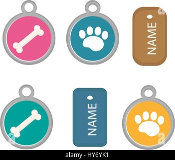 Medallion, dog tag set of icons, flat, cartoon style. Isolated on white background. Vector illustration, clip-art. - Stock Photo