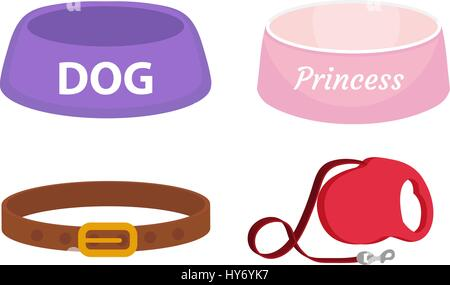 Animal accessories supplies set of icons, flat, cartoon style. Collection of items for dog care with bowl, leash, - Stock Photo