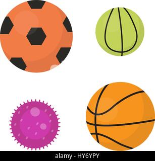 Balls set icons, flat, cartoon style. Collection of football, basketball, tennis. Isolated on white background. - Stock Photo
