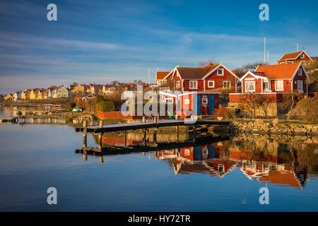 Typical Swedish small cottages in Karlskona, Sweden ..... Karlskrona is a locality and the seat of Karlskrona Municipality, - Stock Photo
