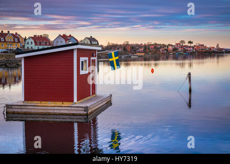 Floating sauna in Karlskona, Sweden ..... Karlskrona is a locality and the seat of Karlskrona Municipality, Blekinge - Stock Photo
