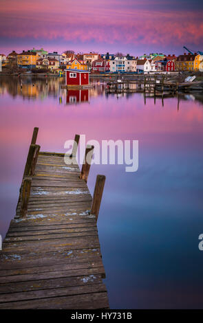 Dock and buildings in Karlskona, Sweden ..... Karlskrona is a locality and the seat of Karlskrona Municipality, - Stock Photo