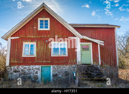 House on old farm the southern province of Blekinge in Sweden, near Kyrkhult. - Stock Photo