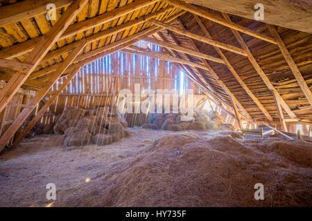Hay loft in old barn in Sweden. - Stock Photo
