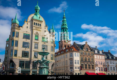 Amagertorv (English: Amager Square), today part of the Strøget pedestrian zone, is often described as the most central - Stock Photo