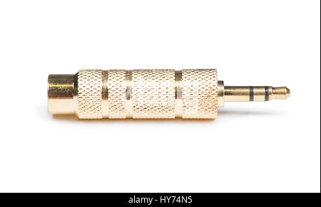 Golden audio jack adapter isolated on white background - Stock Photo